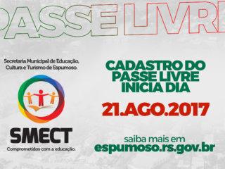 CADASTRO DO PASSE LIVRE INICIA DIA 21 DE AGOSTO DE 2017.
