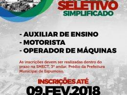 PROCESSO SELETIVO (MOTORISTA, OPERADOR DE MÁQUINAS E AUXILIAR DE ENSINO)