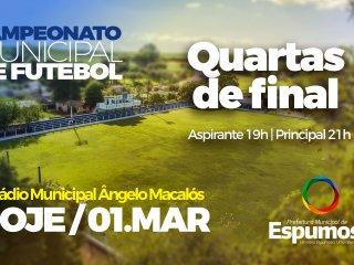 "Começa hoje o ""Mata Mata"" do Municipal de Futebol de Espumoso."