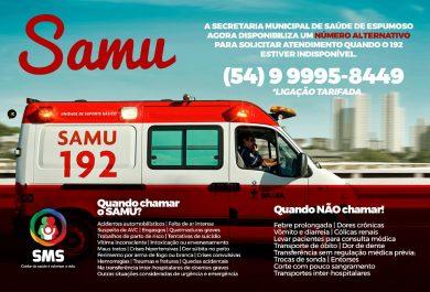 SMS disponibiliza número alternativo para as situações em que o 192 do SAMU estiver indisponível.