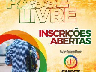 CADASTRO DO PASSE LIVRE INICIOU NO DIA 22 DE AGOSTO DE 2018.