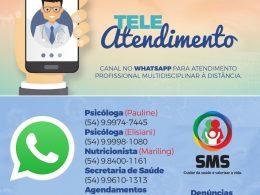 TELE ATENDIMENTO | Secretaria de Saúde lança atendimentos via Whatsapp