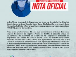 SAÚDE I NOTA OFICIAL – ESPUMOSO TEM PRIMEIRO CASO SUSPEITO DE CORONAVÍRUS