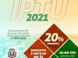 FAZENDA I IPTU 2021 pode ser parcelado em 3x com desconto de 20%