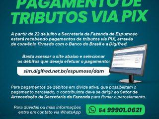 Secretaria da Fazenda implanta pagamento de tributos via PIX